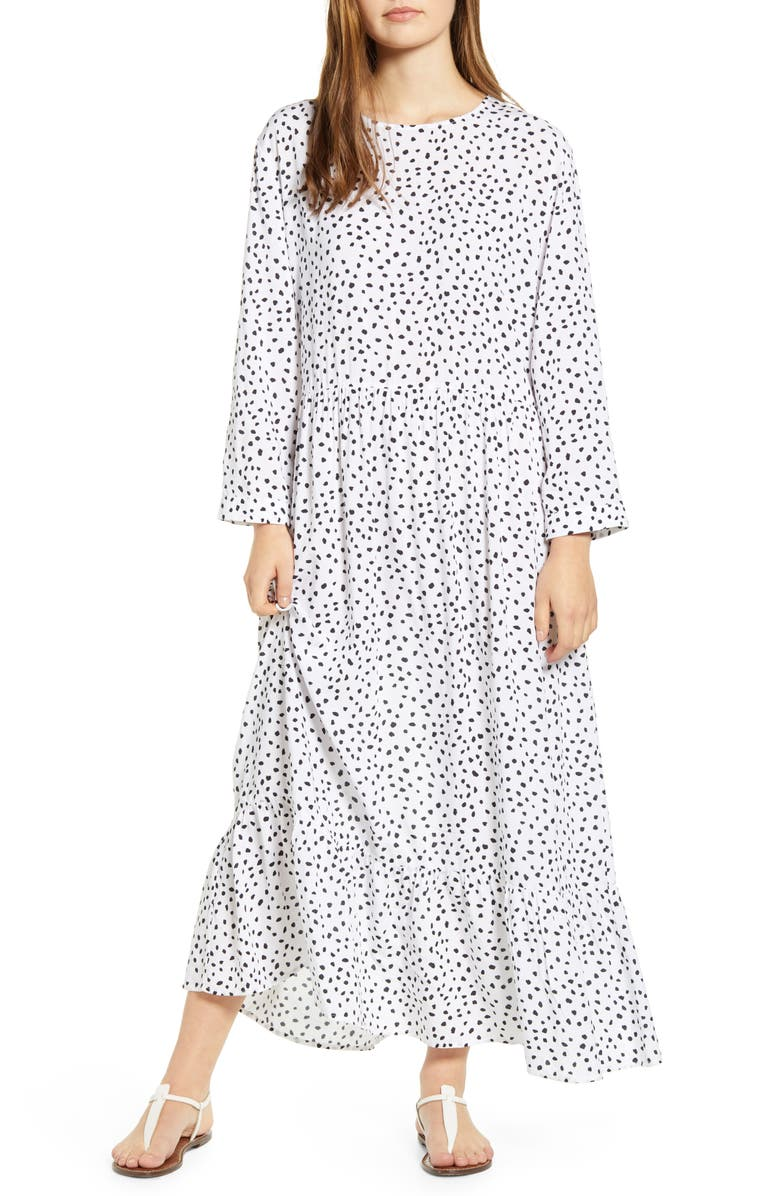 BEACHLUNCHLOUNGE Pia Dot Pattern Long Sleeve Crepe Dress, Main, color, SPOTS BLANC