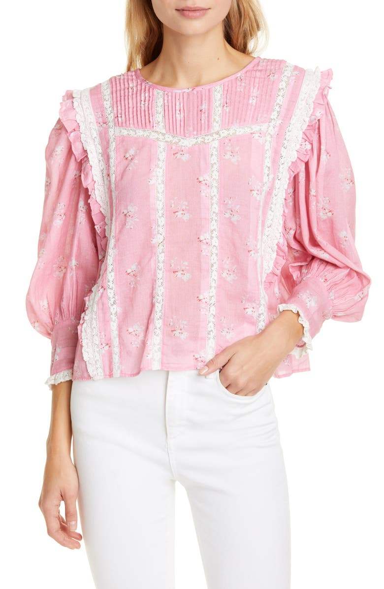 LOVESHACKFANCY Taz Reversible Floral Lace Inset Cotton & Silk Blouse, Main, color, PINK JAM