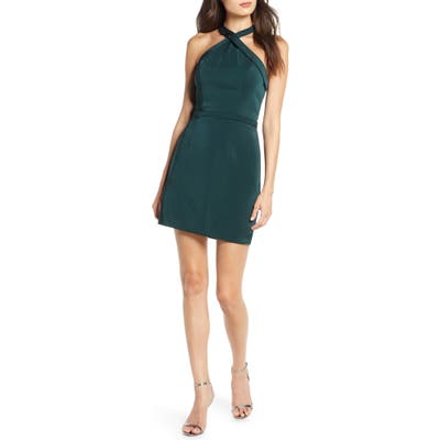 MAC Duggal Crisscross Neck Satin Twill Cocktail Dress, Green