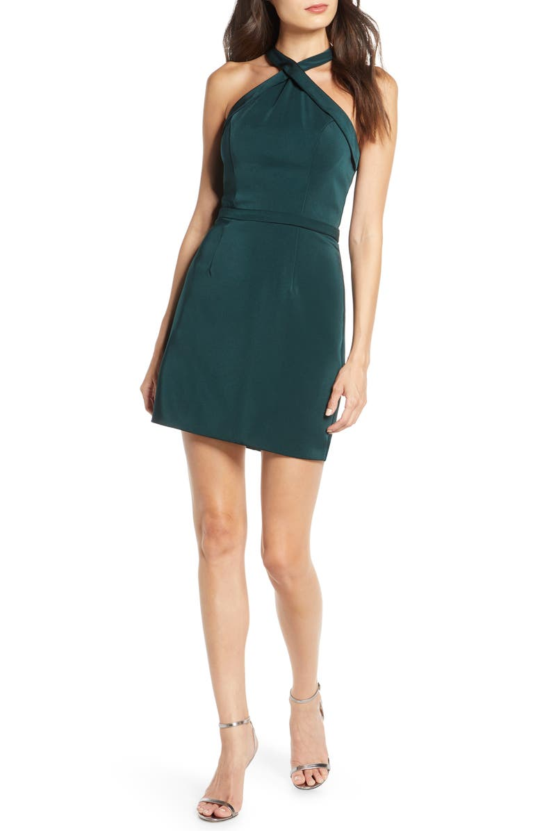MAC DUGGAL Crisscross Neck Satin Twill Cocktail Dress, Main, color, HUNTER GREEN