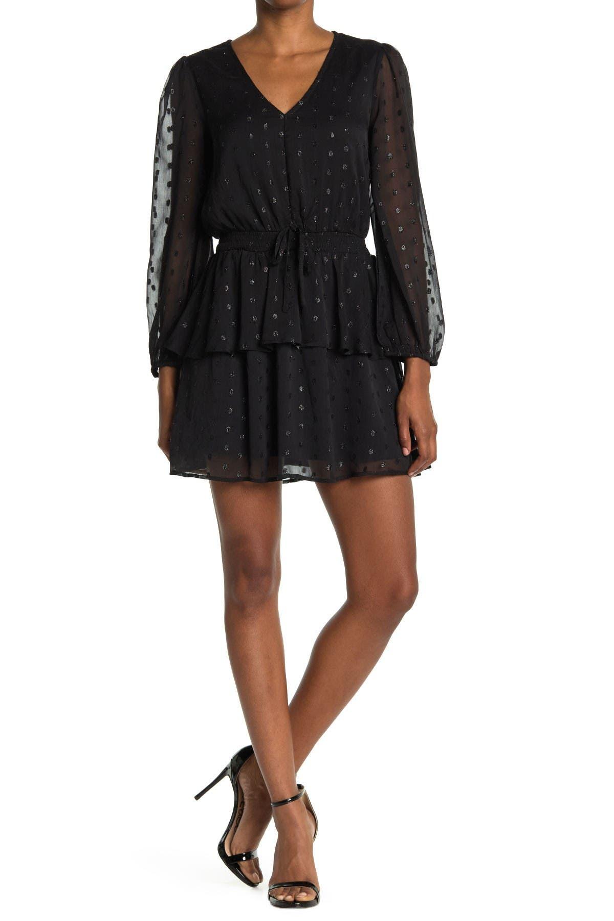 Image of NSR Tyler Metallic Dot Smocked Waist Dress