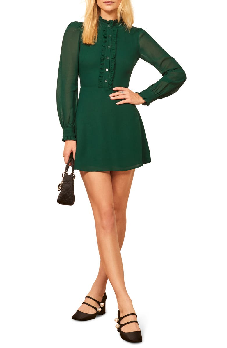 REFORMATION Mathilda Minidress, Main, color, EMERALD