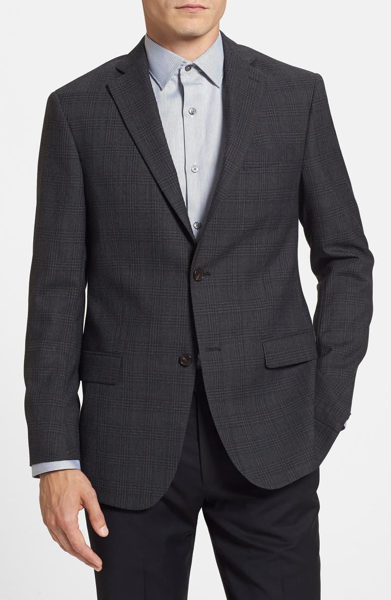 MICHAEL KORS Trim Fit Plaid Sport Coat, Main, color, 015