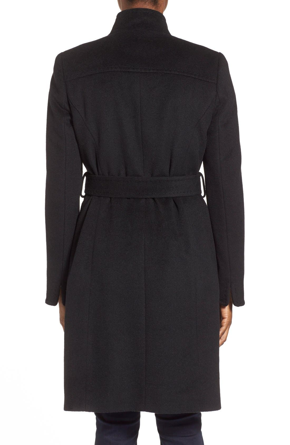 ,                             Belted Wool Blend Stand CollarCoat,                             Alternate thumbnail 8, color,                             001