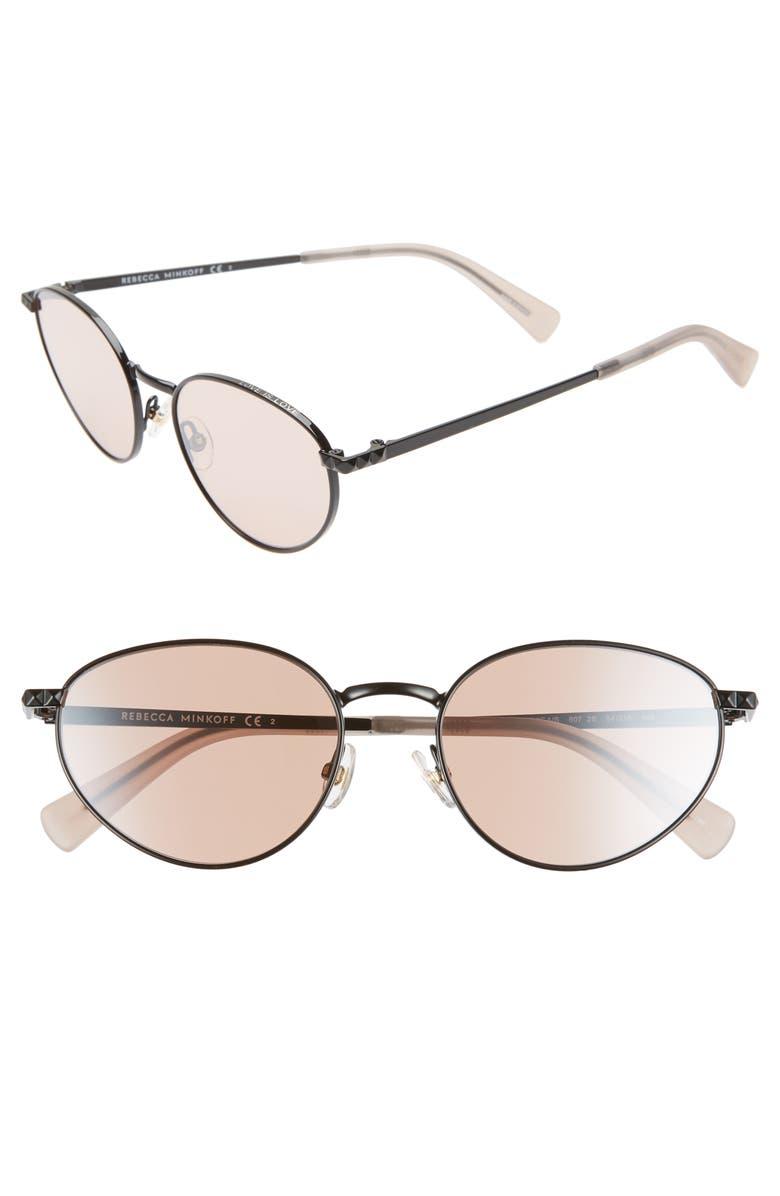 REBECCA MINKOFF Stevie1 54mm Oval Sunglasses, Main, color, BLACK