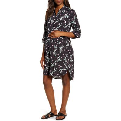 Angel Maternity Maternity Shirtdress, Black