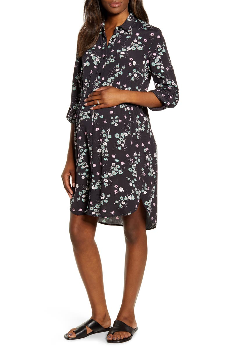 ANGEL MATERNITY Maternity Shirtdress, Main, color, BLACK FLORAL PRINT