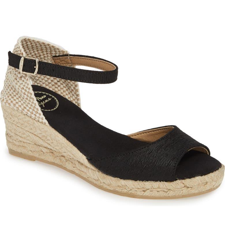 TONI PONS Llivia Wedge Sandal, Main, color, BLACK FABRIC
