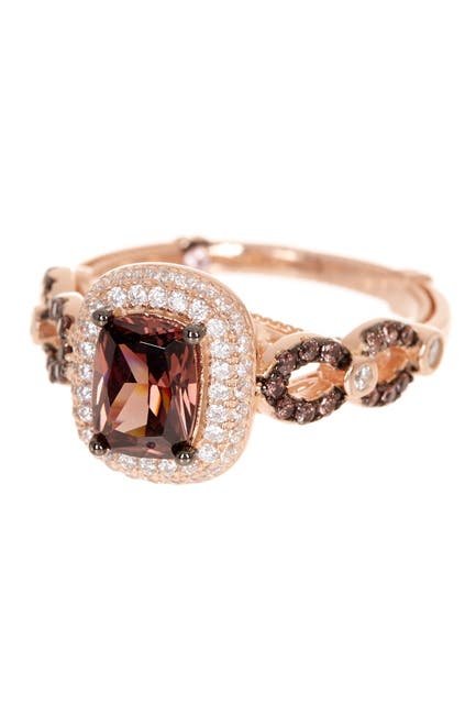 Image of Suzy Levian Rose Gold Plated Sterling Silver CZ Halo Ring