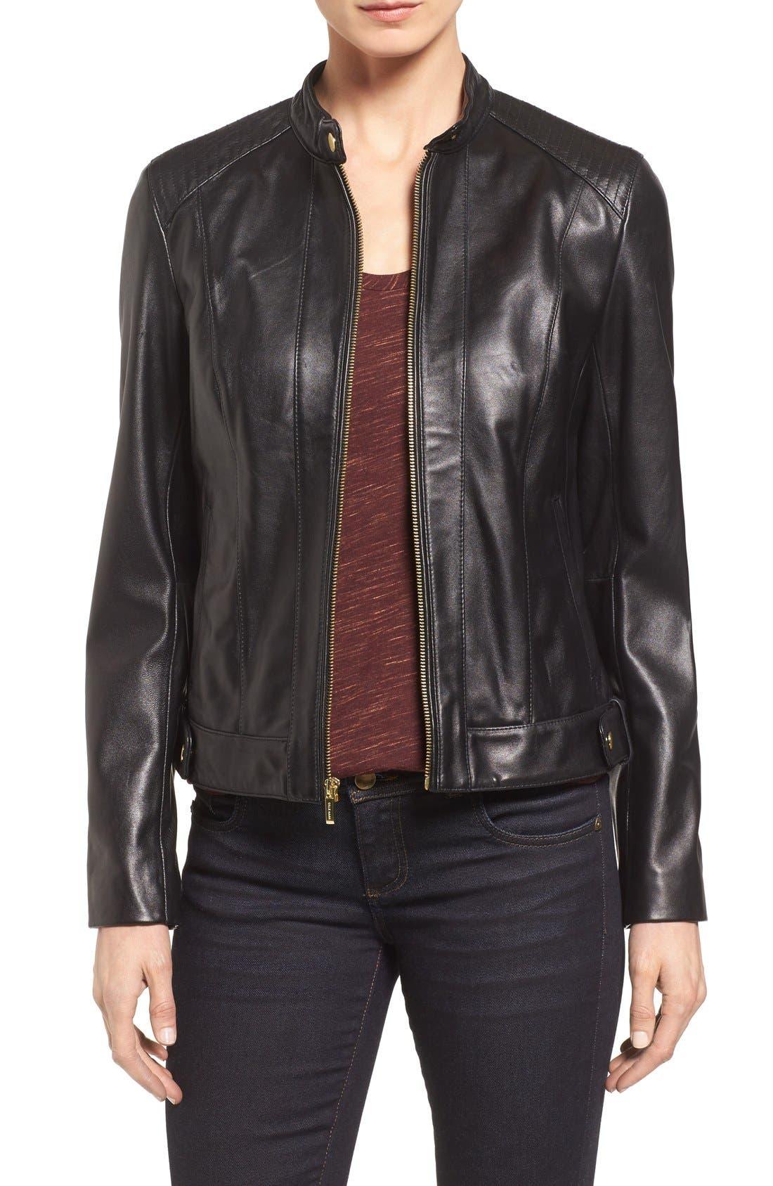 Petite Women's Cole Haan Leather Moto Jacket