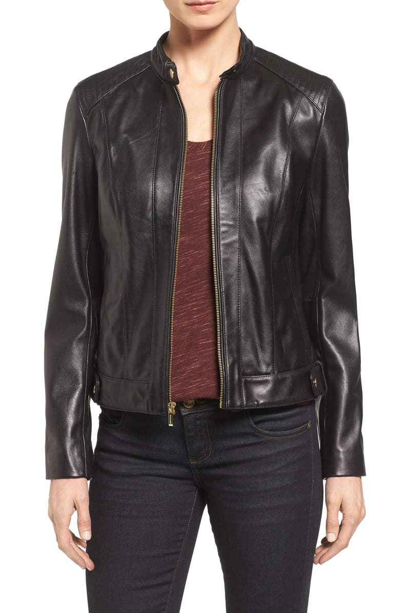 COLE HAAN Leather Moto Jacket, Main, color, BLACK