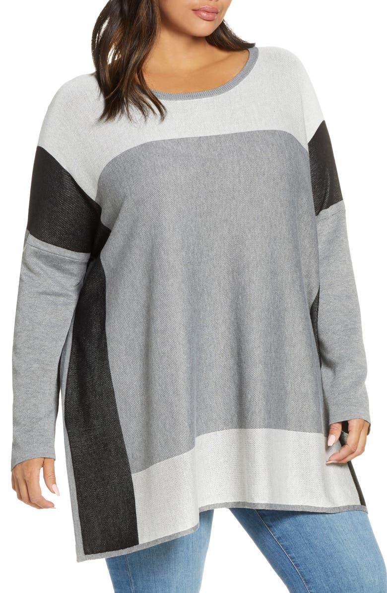 SINGLE THREAD Colorblock Tunic Sweater, Main, color, HGREY/ WHT/ BLK