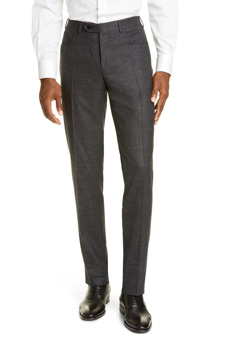 CANALI Flat Front Solid Stretch Wool Blend Trousers, Main, color, CHARCOAL