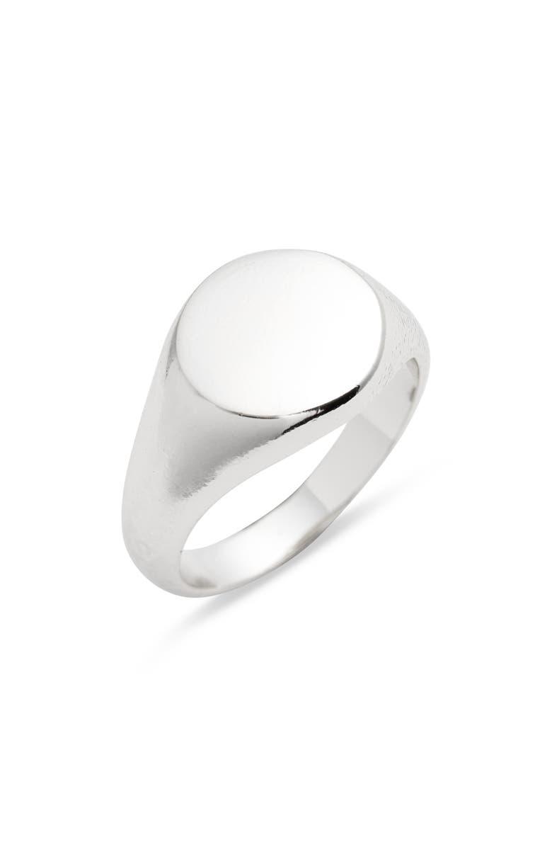 ARGENTO VIVO Signet Ring, Main, color, SILVER