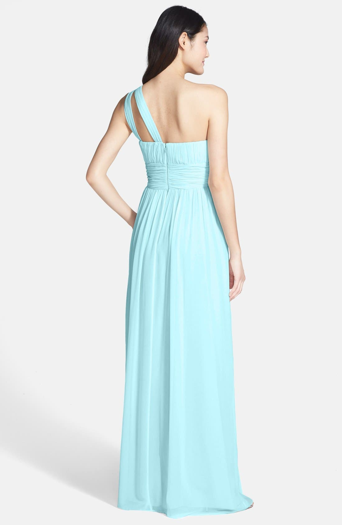 ,                             'Rachel' Ruched One-Shoulder Chiffon Gown,                             Alternate thumbnail 66, color,                             402
