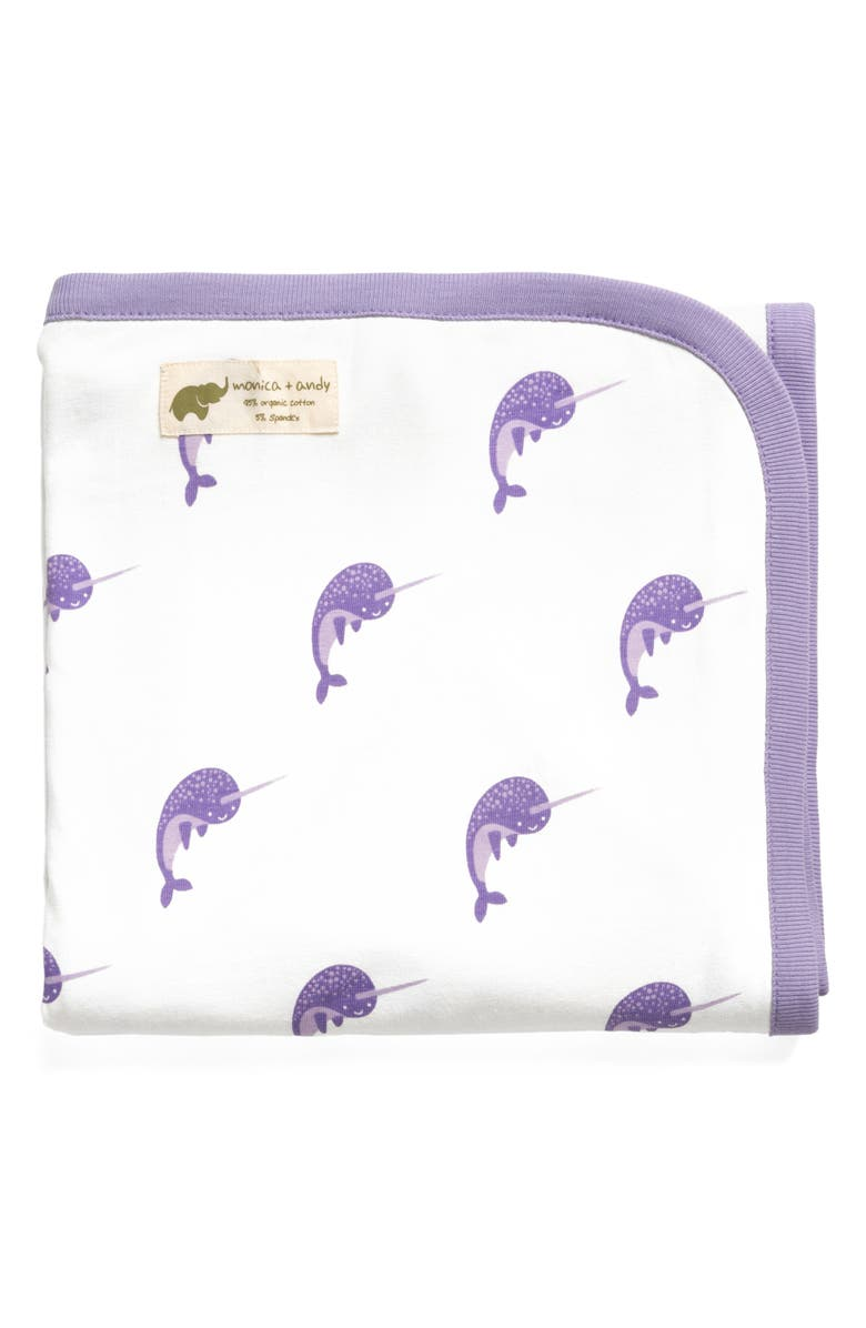 MONICA + ANDY Hello Narwhal Coming Home Blanket, Main, color, 504