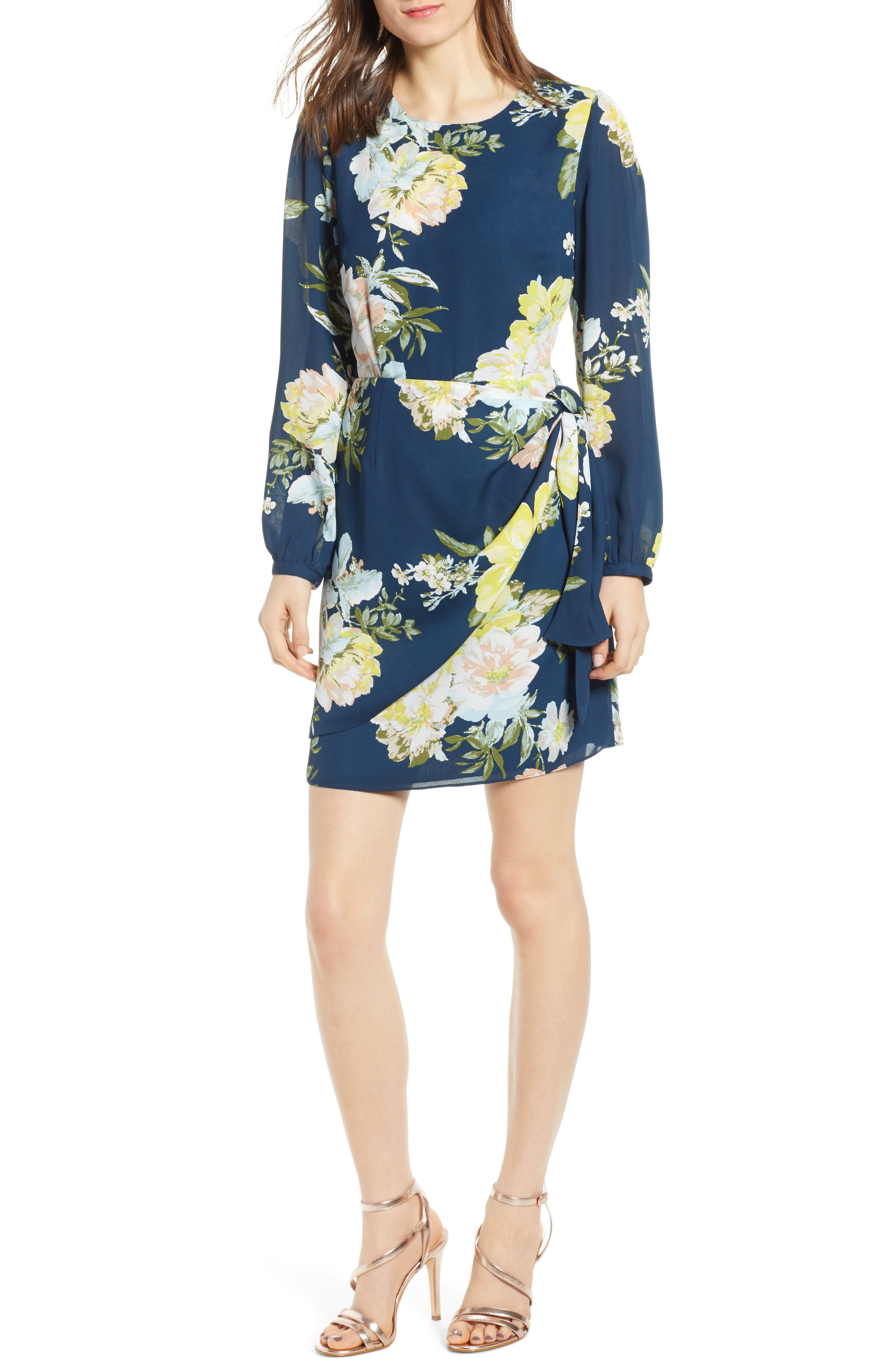 Socialite Floral Wrap Detail Minidress, Blue
