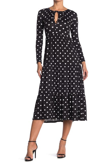 Image of Velvet Torch Polka Dot Keyhole Long Sleeve Midi Dress