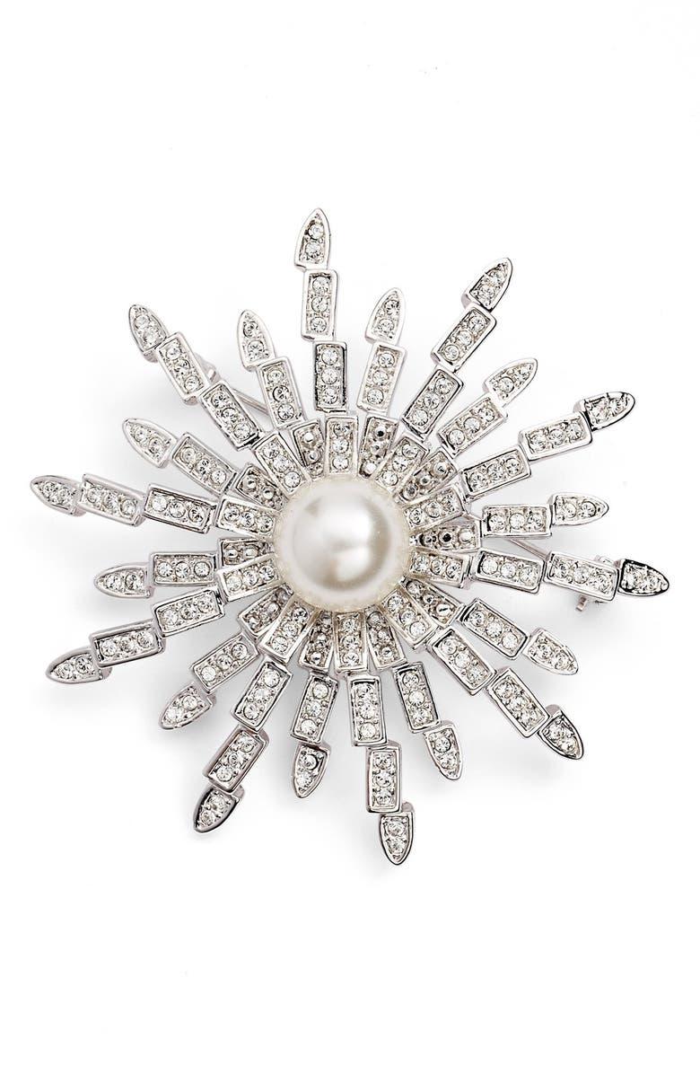 NINA 'Starburst' Swarovski Crystal & Faux Pearl Brooch, Main, color, 900