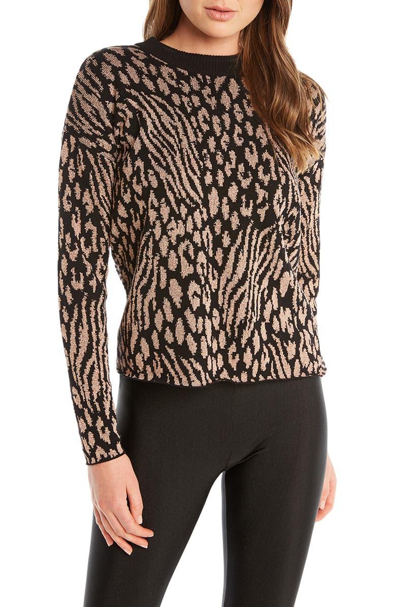 BARDOT Leopard Pattern Twist Back Sweater, Main, color, BLACK GOLD LEOPARD