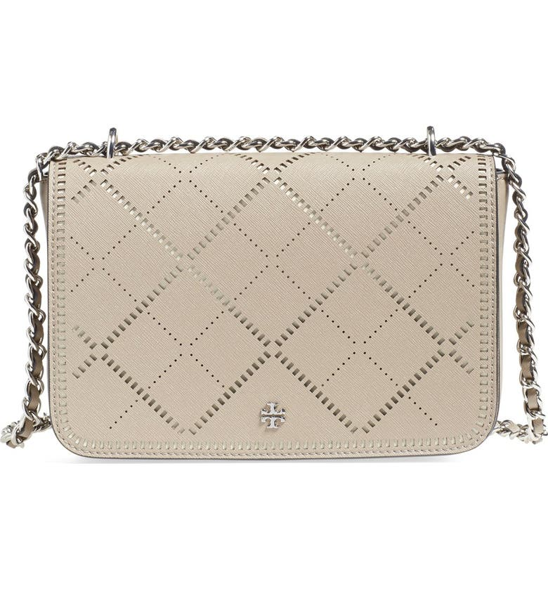 TORY BURCH 'Robinson - Crosshatch' Perforated Leather Shoulder Bag, Main, color, 020
