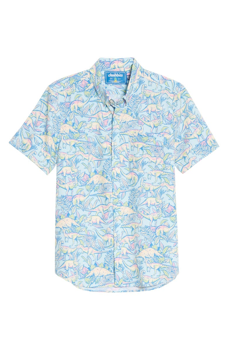 CHUBBIES The Triceratop Short Sleeve Button-Down Shirt, Main, color, TURQUOISE/ AQUA