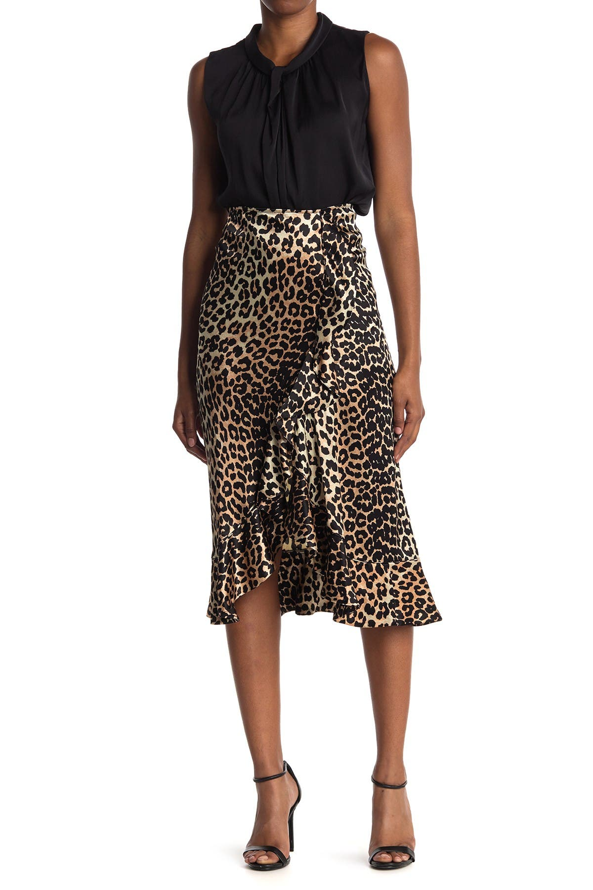 Image of GANNI Heavy Leopard Satin Skirt