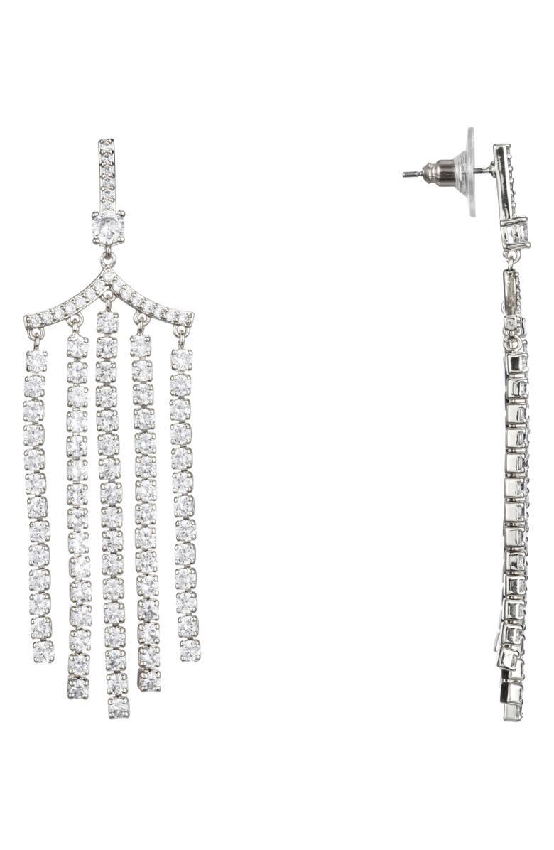 NINA Fringe Chandelier Earrings, Main, color, RHODIUM/ WHITE