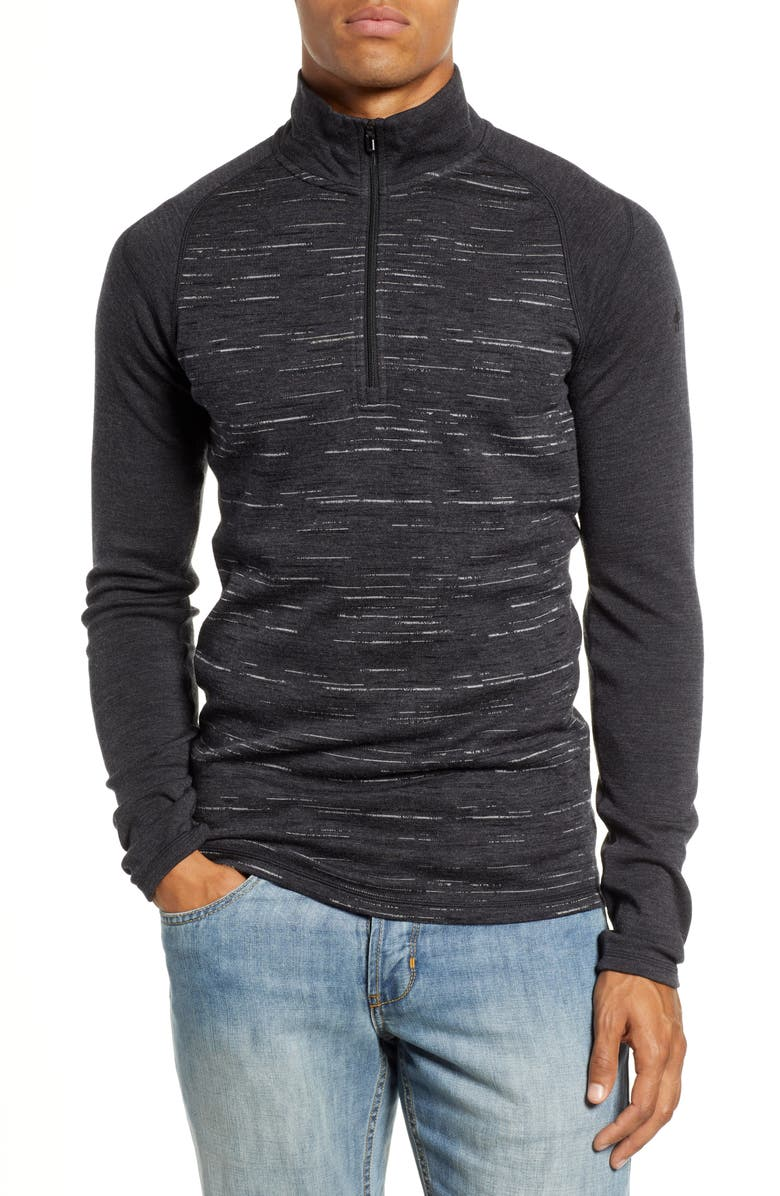 SMARTWOOL Merino 250 Base Layer Pattern Quarter Zip Pullover, Main, color, CHARCOAL/ BLACK