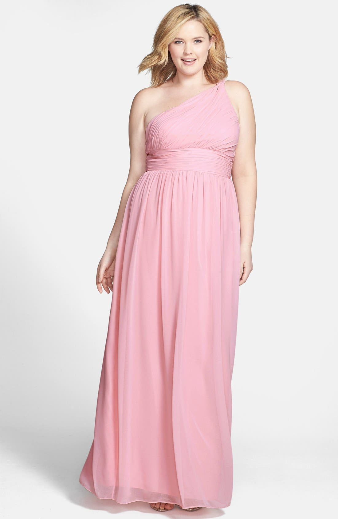 ,                             'Rachel' Ruched One-Shoulder Chiffon Gown,                             Alternate thumbnail 106, color,                             650