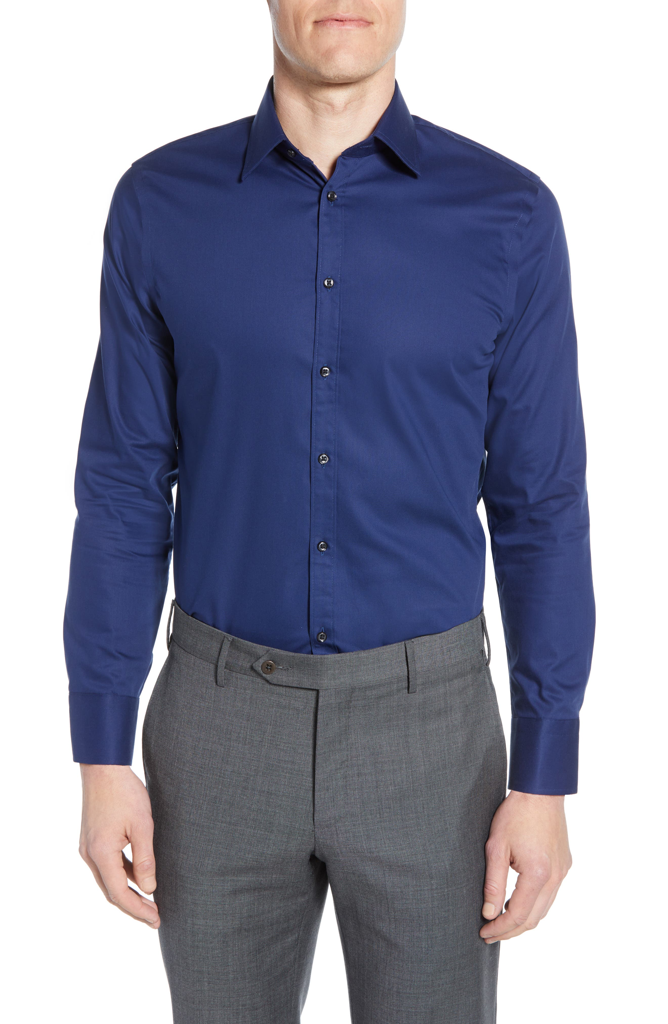 ,                             Extra Trim Fit Non-Iron Solid Dress Shirt,                             Main thumbnail 13, color,                             410