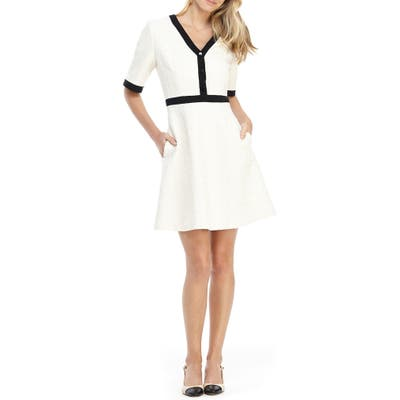 Gal Meets Glam Collection Whitney Boucle Fit & Flare Dress, Ivory
