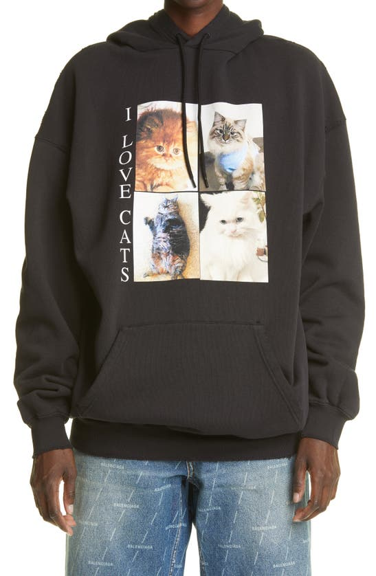Balenciaga Cottons I LOVE CATS COTTON HOODIE