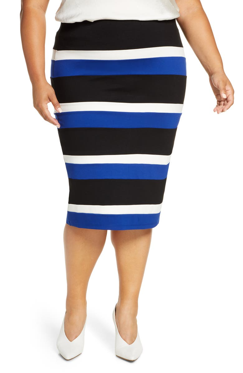 ELOQUII Stripe Pencil Skirt, Main, color, BLACK/ WHITE/ COBALT