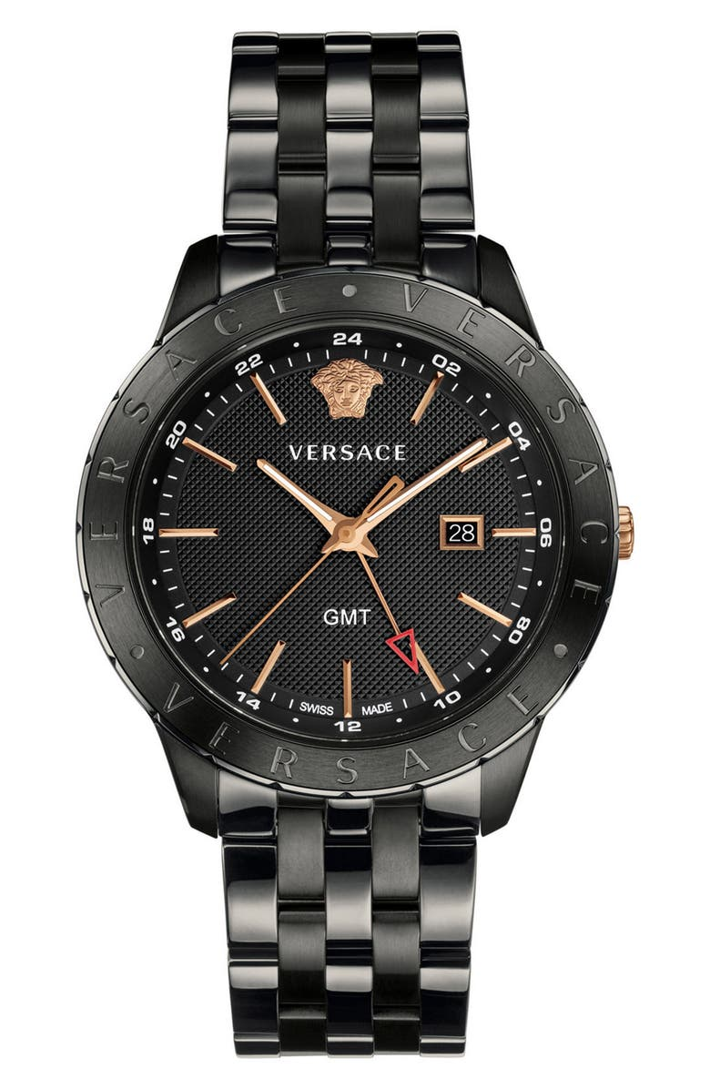 VERSACE Univers Bracelet Watch, 43mm, Main, color, BLACK