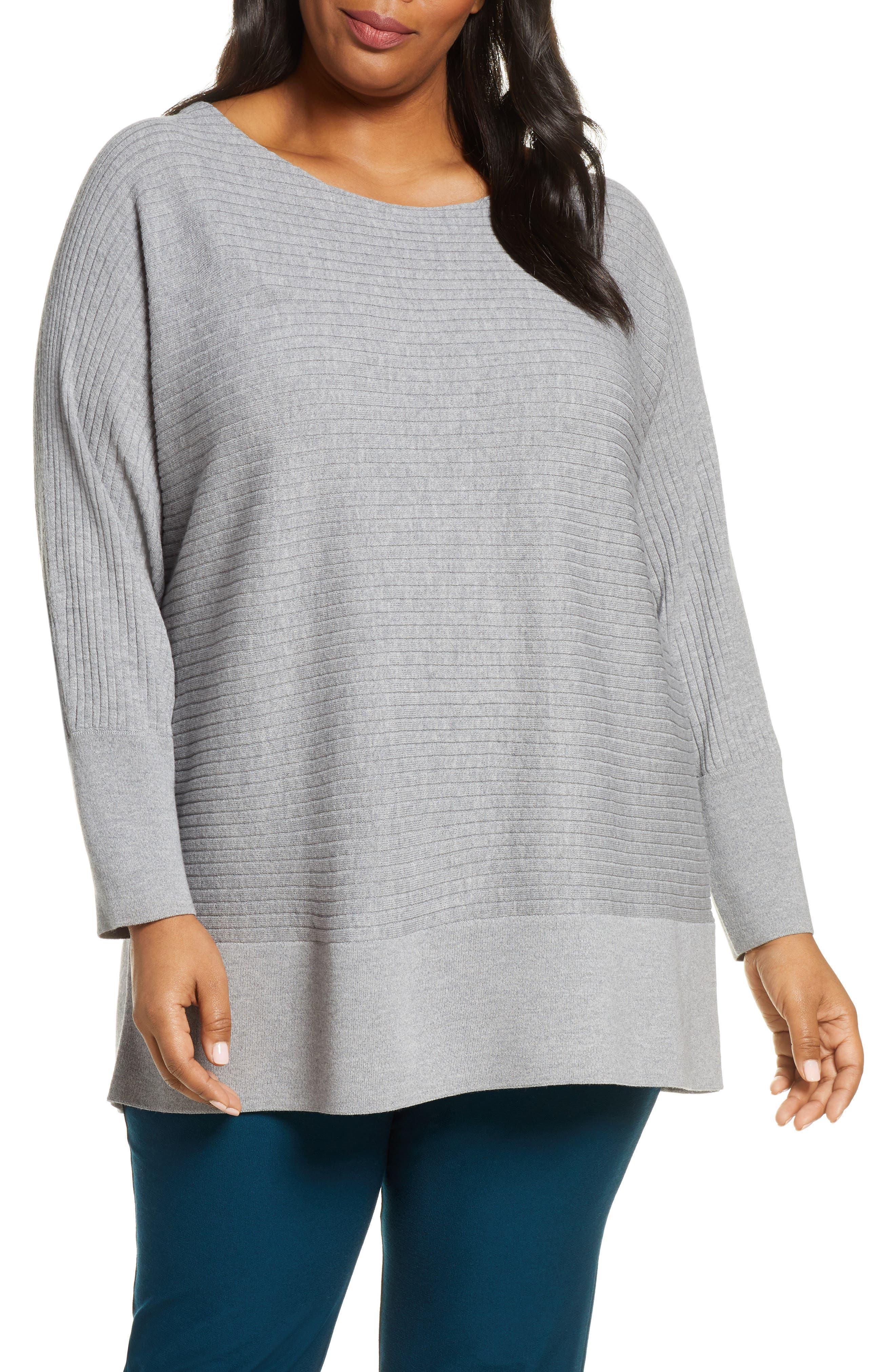 Eileen Fisher Rib Wool Tunic Sweater (Plus Size)
