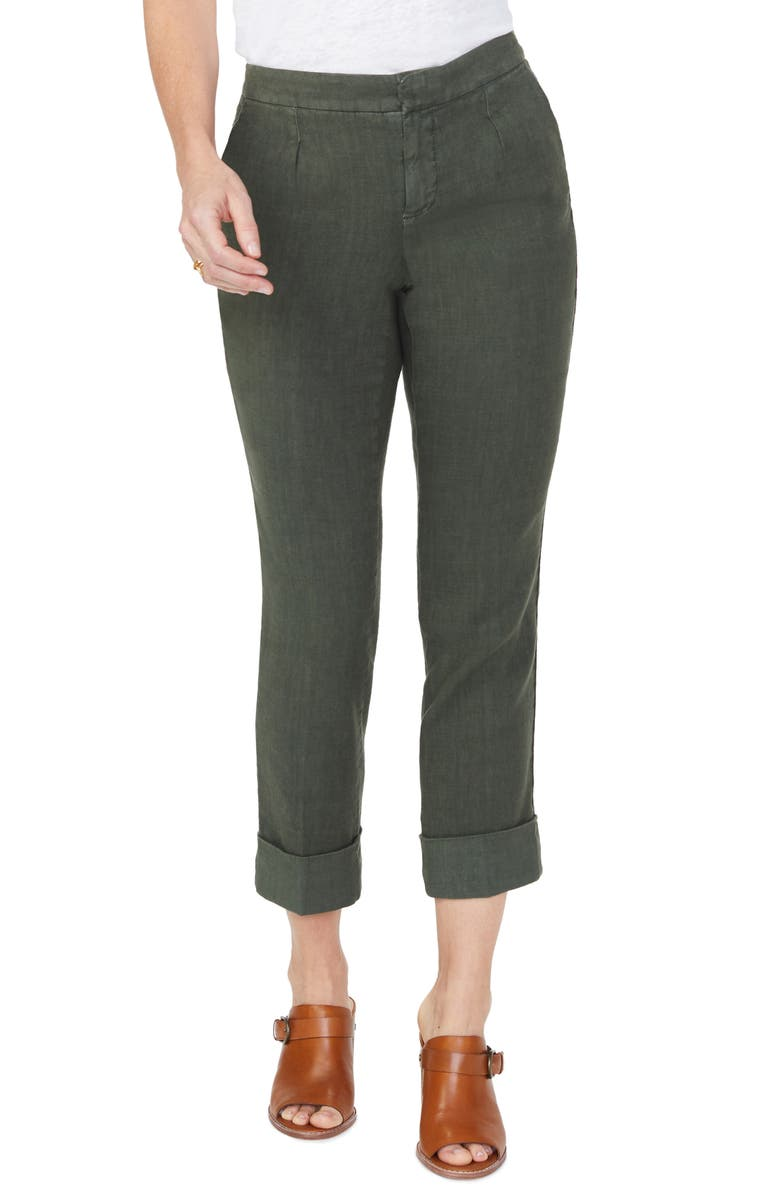 NYDJ Everyday Pleated Cuff Detail Linen Blend Trousers, Main, color, OLIVINE
