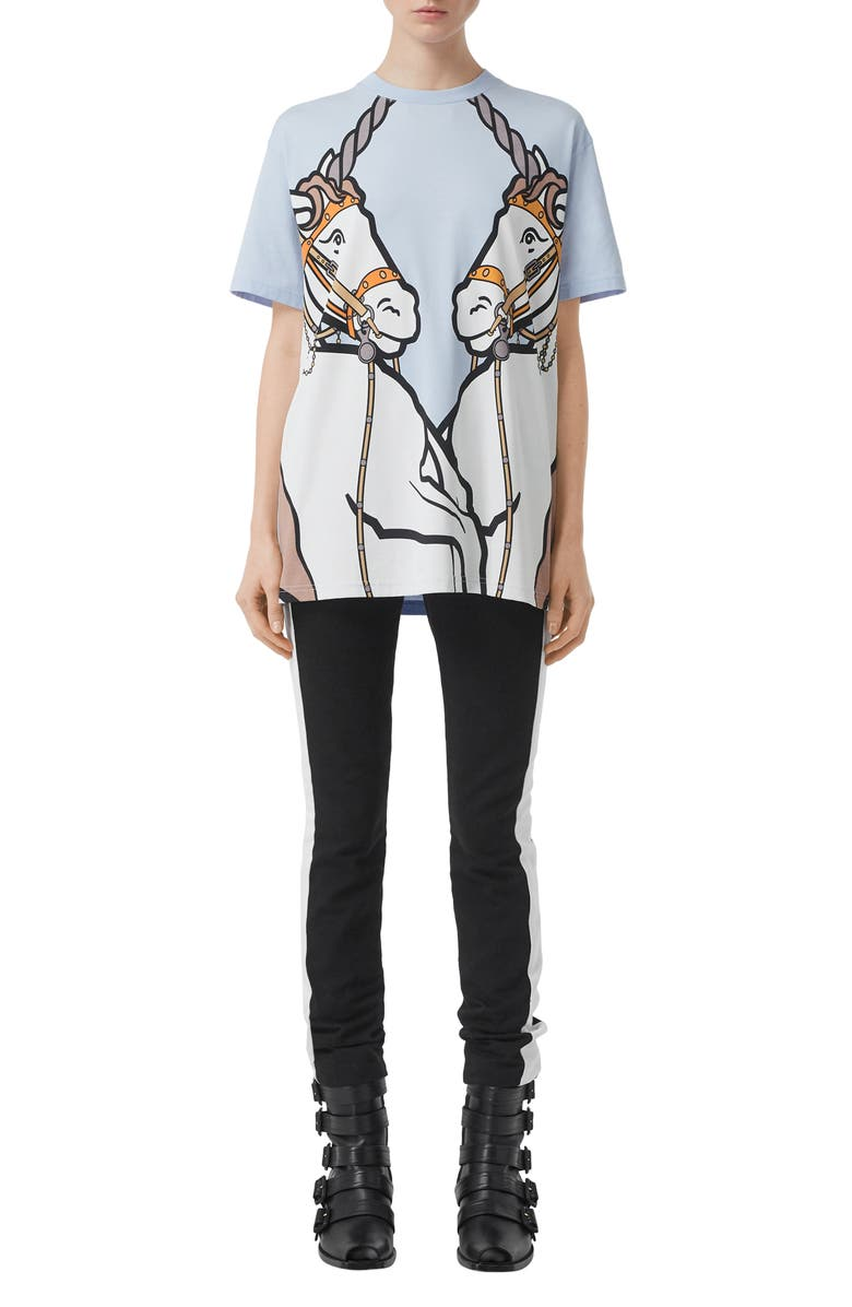 BURBERRY Carrick Unicorn Print Tee, Main, color, PALE BLUE