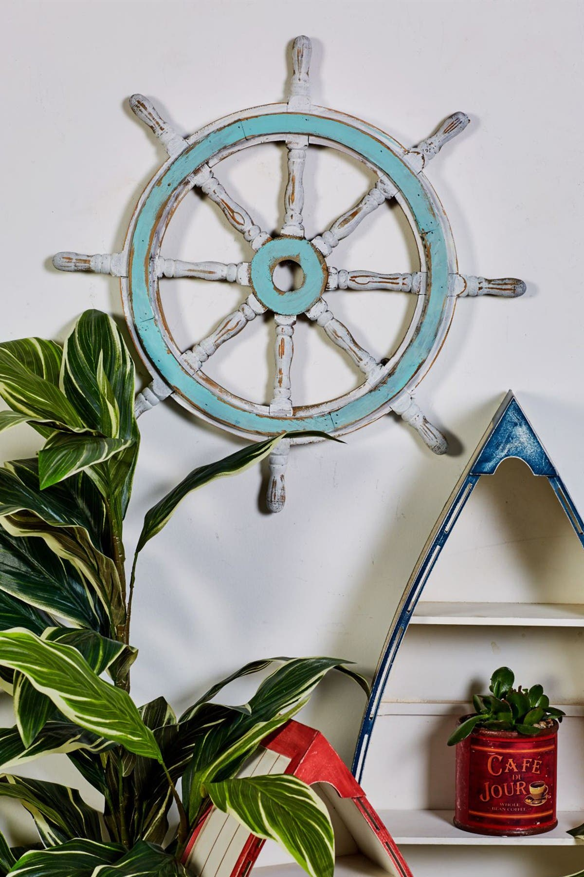 Image of Willow Row Natural Wood/White/Pale Blue Wood Ship Wheel