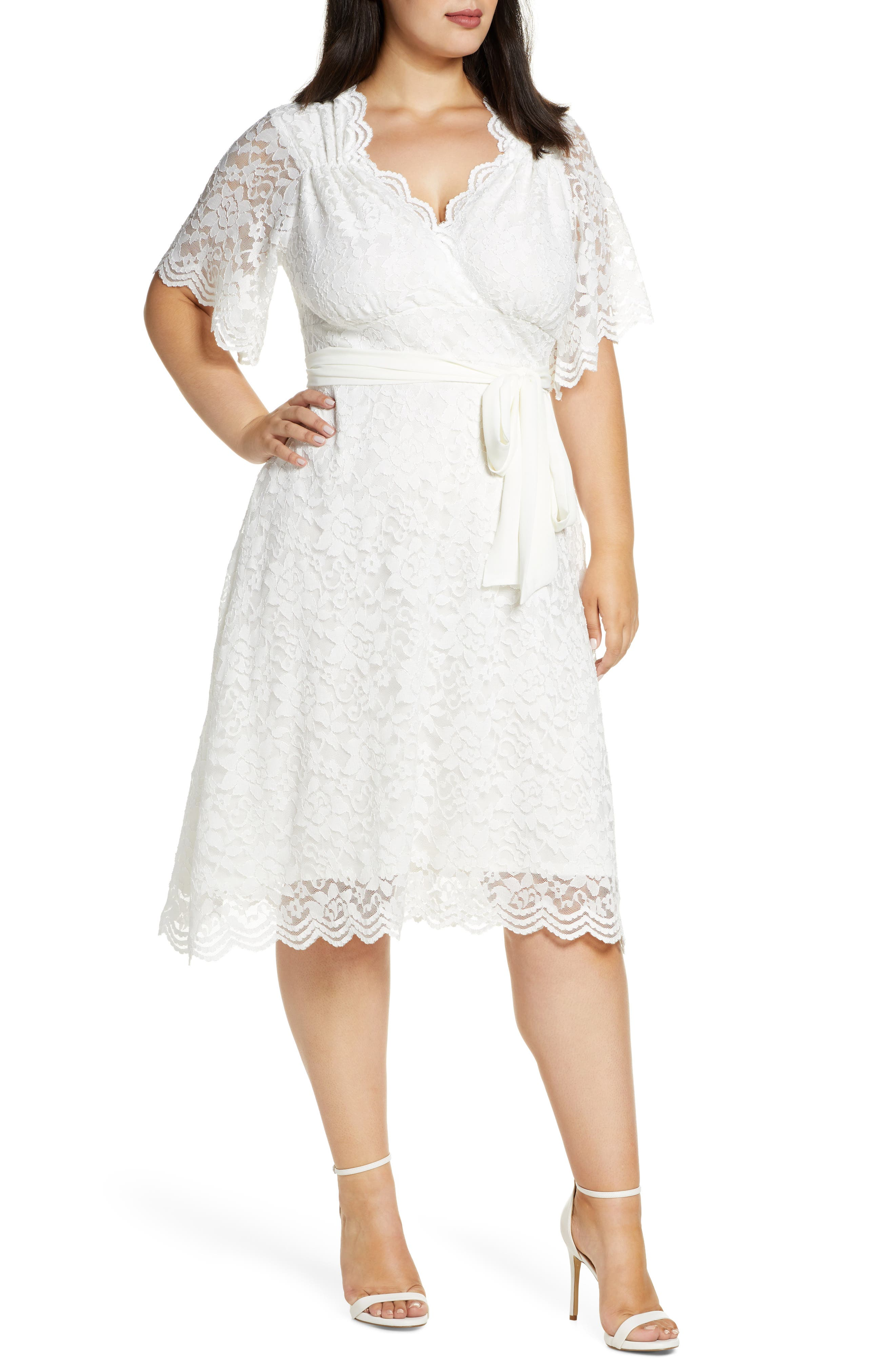 50s Wedding Dress, 1950s Style Wedding Dresses, Rockabilly Weddings Plus Size Womens Kiyonna Graced With Love Faux Wrap Dress $212.00 AT vintagedancer.com