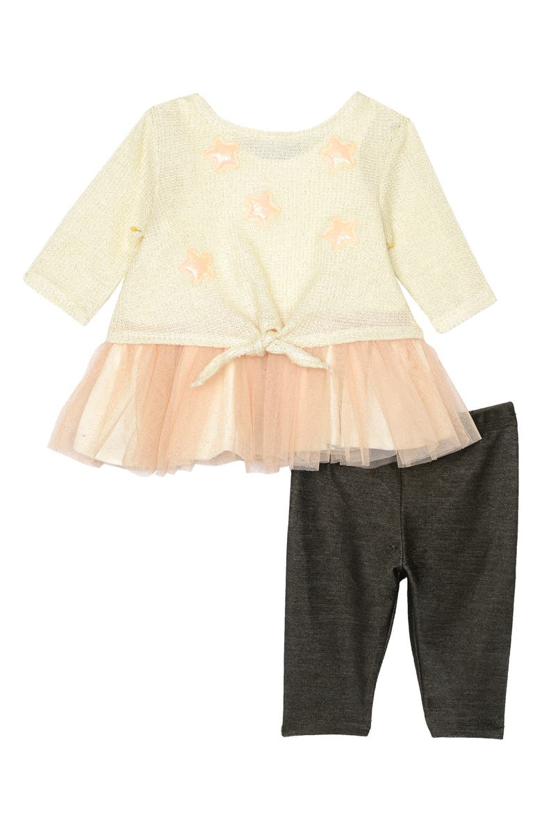 PIPPA & JULIE Tie Front Sweater, Skirted Tank & Leggings Set, Main, color, 900