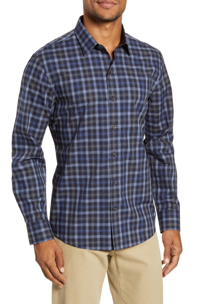 ZACHARY PRELL Ojeda Regular Fit Plaid Button-Up Shirt, Main, color, NAVY
