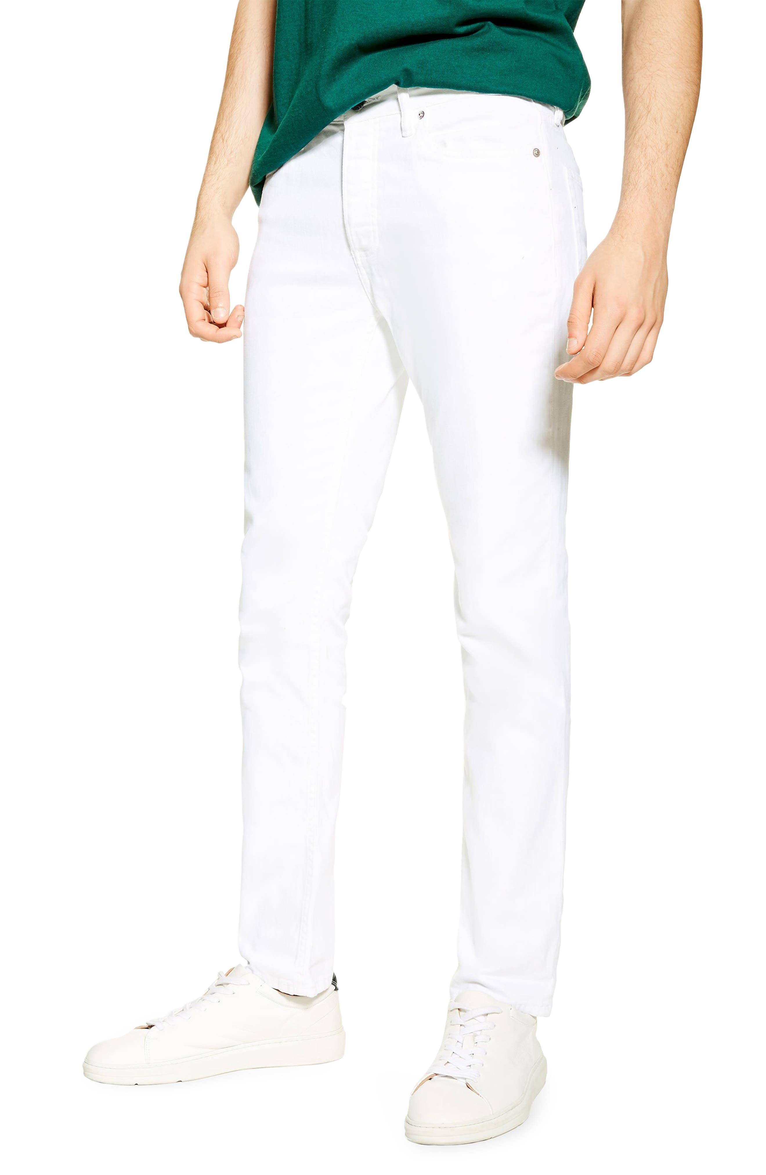 ,                             Slim Fit Stretch Denim Jeans,                             Main thumbnail 1, color,                             WHITE
