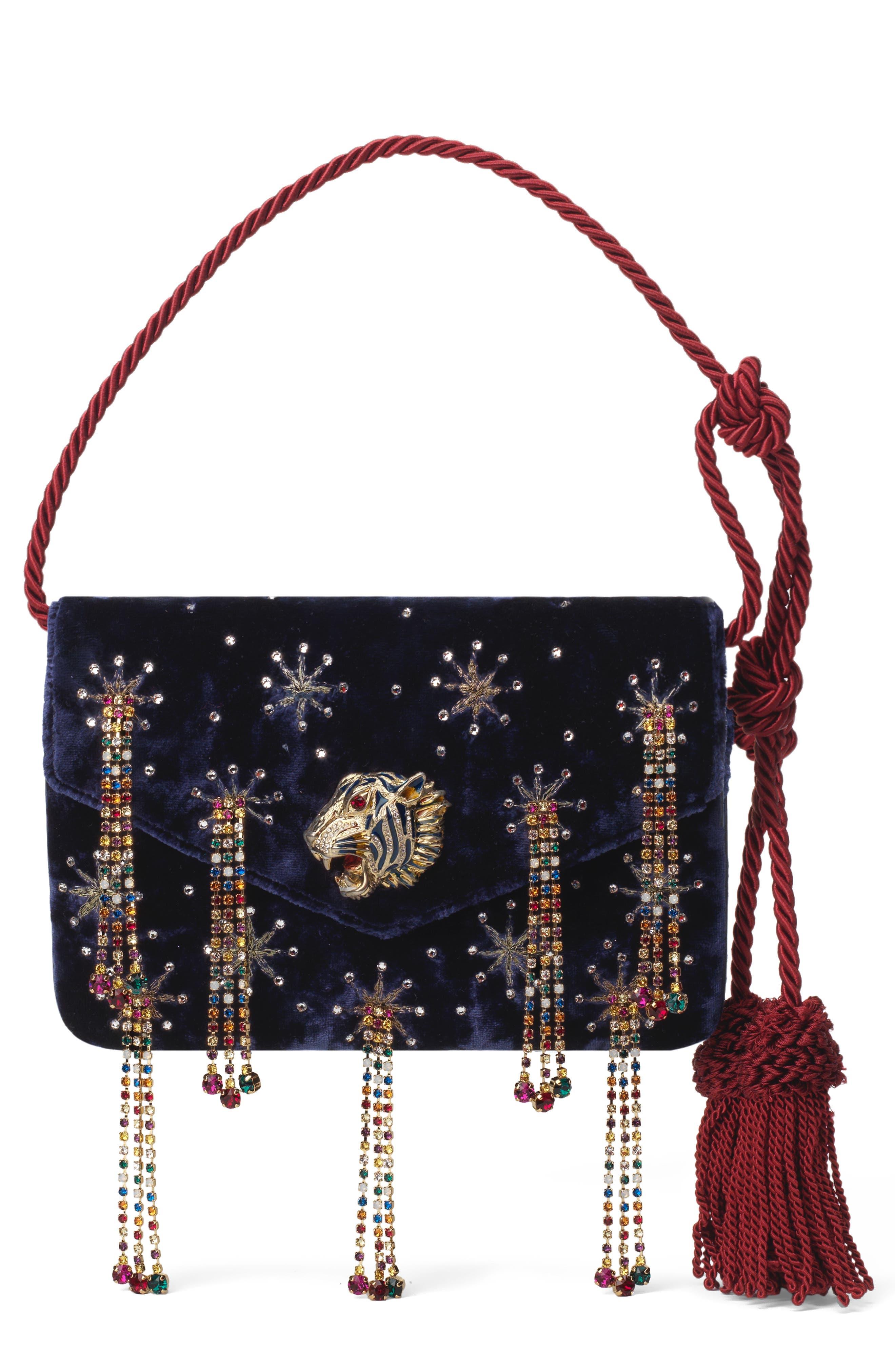 Gucci Clutch Broadway Crystal Embellished Velvet Evening Bag