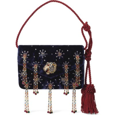 Gucci Crystal Embellished Velvet Evening Bag - Blue