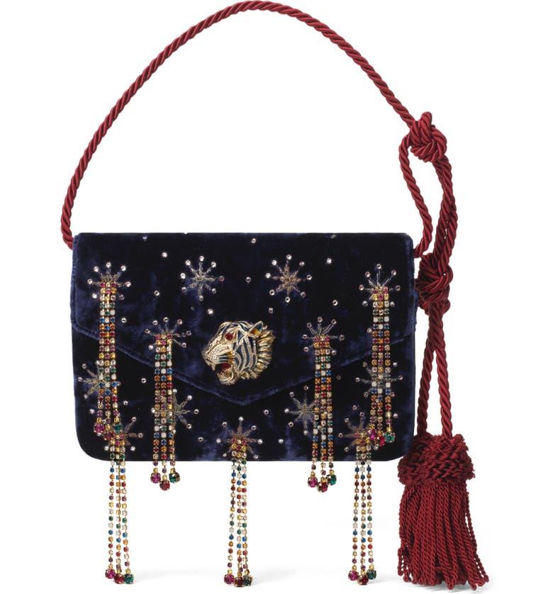 GUCCI Broadway Crystal Embellished Velvet Evening Bag, Main, color, BLUE ROYAL MULTI