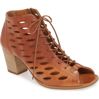 Paul Green Bali Lace-Up Bootie Sandal - Brown