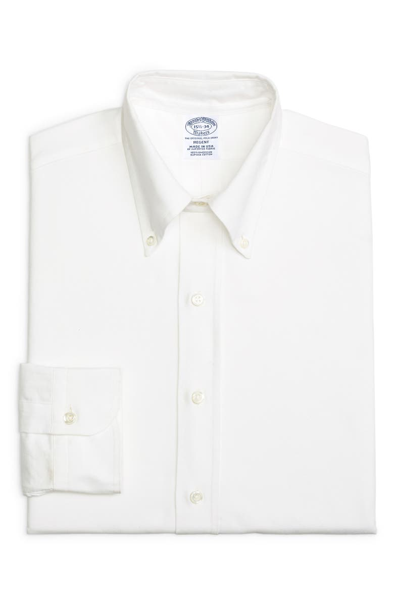 BROOKS BROTHERS Regent Regular Fit Solid Dress Shirt, Main, color, SOLID WHT