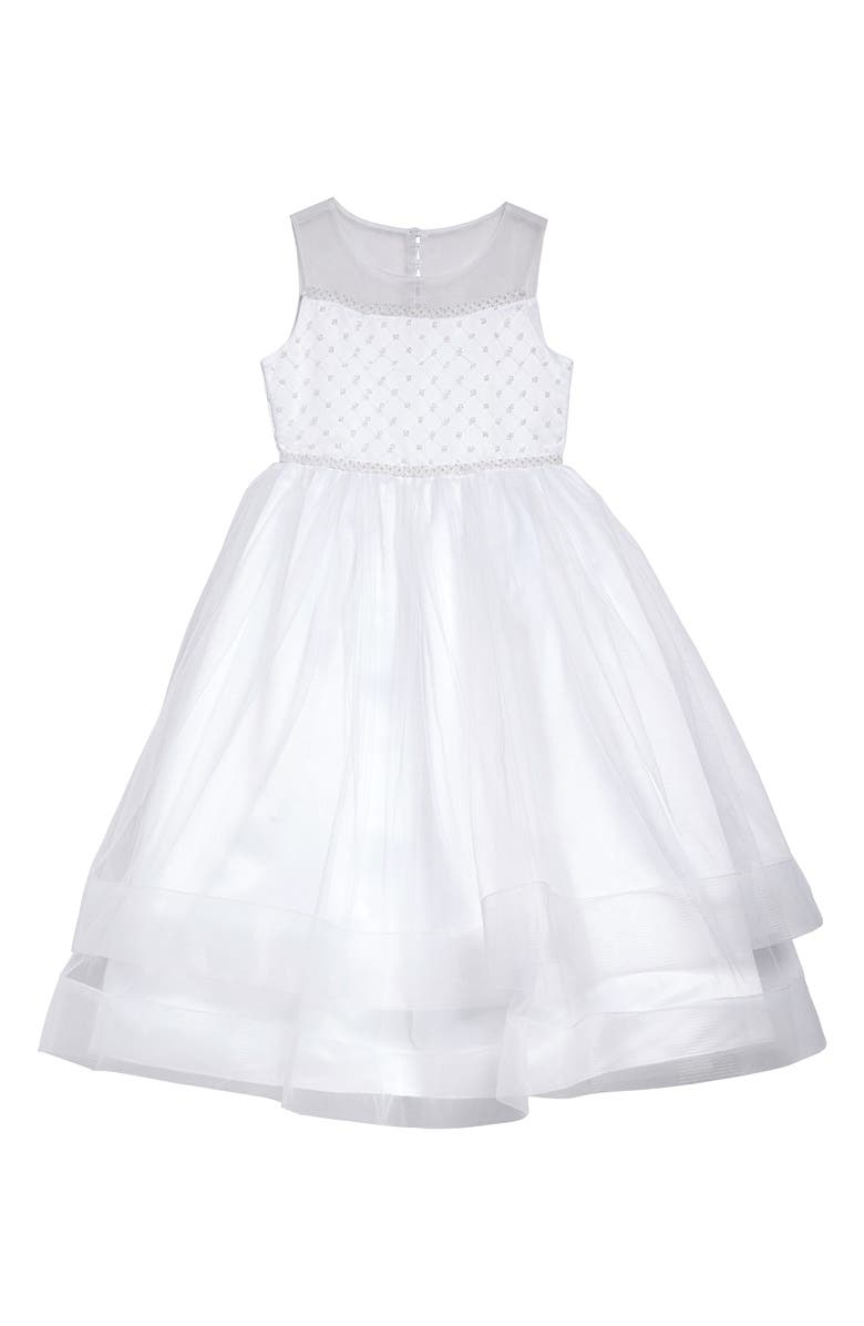 IRIS & IVY Beaded Illusion Tulle First Communion Dress, Main, color, WHITE
