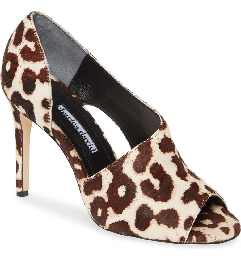 CHARLES DAVID Congress Cutout Peep Toe Genuine Calf Hair Pump, Main, color, WHITE SNOW LEOPARD CALF HAIR